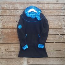 Girl's hoody dress in black/turquoise