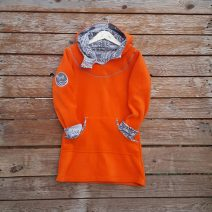 Girl's hoody dress in orange/marl grey