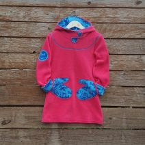 Girl's fleece hoody dress in sugar pink/turquoise