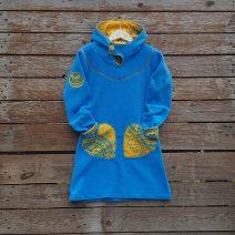 Girl's fleece hoody dress in sugar turquoise/amber