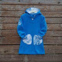 Girl's fleece hoody dress in turquoise/white