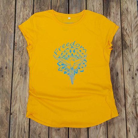 Women's organic t-shirt in aqua - Freedom