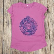 Women's organic t-shirt in raspberry - Protect our Coastline