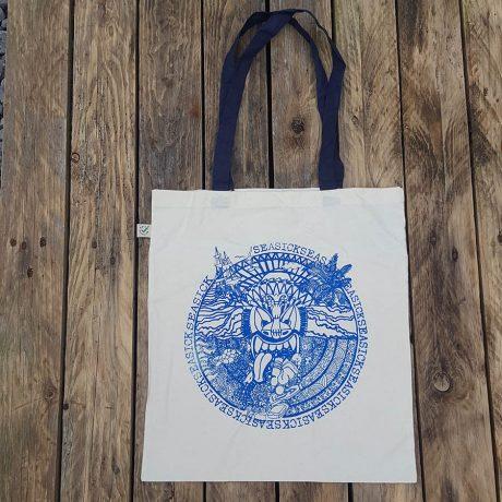 Organic cotton shopper bag with sea sick print