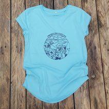 Women's organic t-shirt in aqua - Protect our Coastline