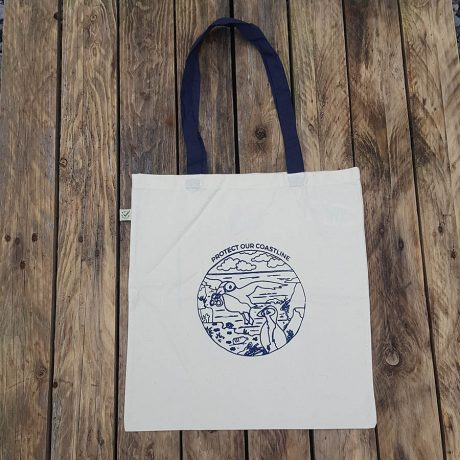 Organic cotton shopper bag with protect our coastline print