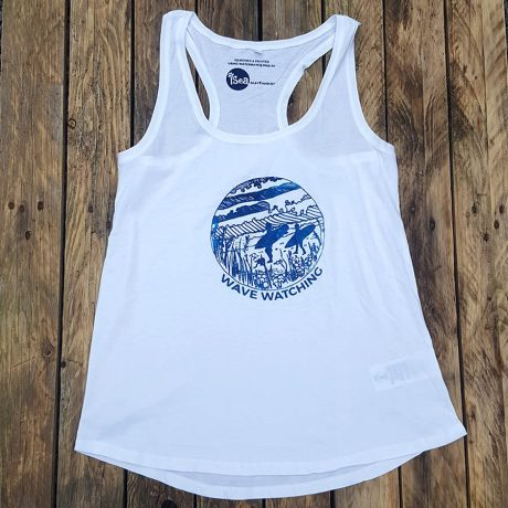 Women's organic vest in white - Wave Watching