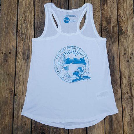 Women's organic vest in white - Wild and Free