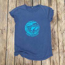Women's organic t-shirt in navy - wave watching