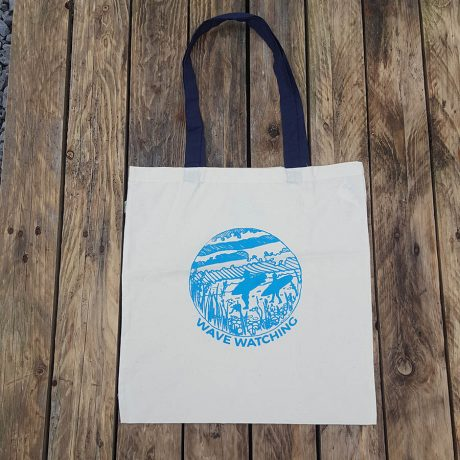 Organic cotton shopper bag with wave watching print